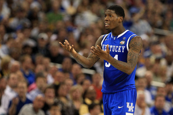 HOUSTON, TX - APRIL 02:  DeAndre Liggins #34 of the Kentucky Wildcats reacts against the Connecticut Huskies during the National Semifinal game of the 2011 NCAA Division I Men's Basketball Championship at Reliant Stadium on April 2, 2011 in Houston, Texas