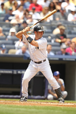 NEW YORK, NY - JUNE 16:  Jorge Posada #20 of the New York Yankees in action against the Texas Rangers during their game on June 16, 2011 at Yankee Stadium in the Bronx borough of New York City.  (Photo by Al Bello/Getty Images)