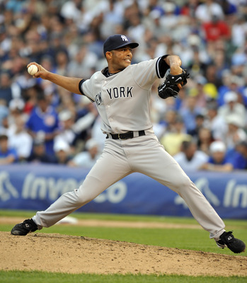 CHICAGO, IL - JUNE 18:  Mariano Rivera # 42 of the New York Yankees pitches against the  Chicago Cubs on June 18, 2011 at Wrigley Field in Chicago, Illinois.  The Yankees defeated the Cubs 4-3 (Photo by David Banks/Getty Images)