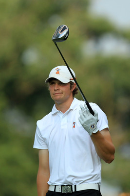 BETHESDA, MD - JUNE 17:  Amateur Peter Uihlein watches his shot on the eighth hole during the second round of the 111th U.S. Open at Congressional Country Club on June 17, 2011 in Bethesda, Maryland.  (Photo by David Cannon/Getty Images)