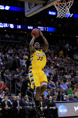 NEWARK, NJ - MARCH 25:  Jimmy Butler #33 of the Marquette Golden Eagles in action against the North Carolina Tar Heels during the east regional semifinal of the 2011 NCAA Men's Basketball Tournament at the Prudential Center on March 25, 2011 in Newark, Ne
