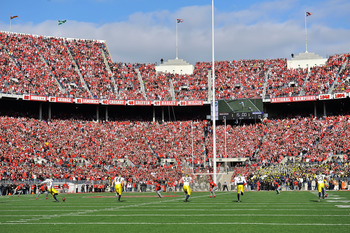 COLUMBUS, OH - NOVEMBER 27:  The Michigan Wolverines kick off to the Ohio State Buckeyes at Ohio Stadium on November 27, 2010 in Columbus, Ohio.  (Photo by Jamie Sabau/Getty Images)