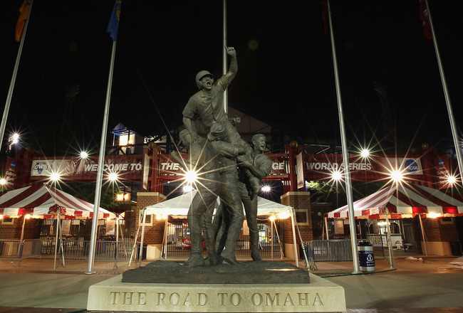 OMAHA, NE - JUNE 29:  General view of the 'Road to Omaha' Statue in front of the Rosenblatt Stadium following game 2 of the men's 2010 NCAA College Baseball World Series between the UCLA Bruins and the South Carolina Gamecocks on June 29, 2010 in Omaha, N