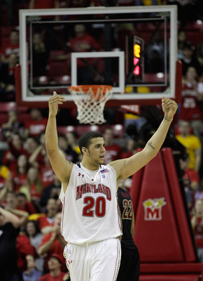COLLEGE PARK, MD - FEBRUARY 23: Jordan Williams #20 of the Maryland Terrapins celebrates against the Florida State Seminoles at the Comast Center on February 23, 2011 in College Park, Maryland.  (Photo by Rob Carr/Getty Images)