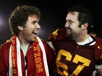 LOS ANGELES, CA - NOVEMBER 18:  Actor Will Farrell (L) and Ryan Kalil #67 of the USC Trojans celebrate a 23-9 win over the California Golden Bears during the game at the Los Angeles Memorial Coliseum on November 18, 2006 in Los Angeles, California.  (Phot
