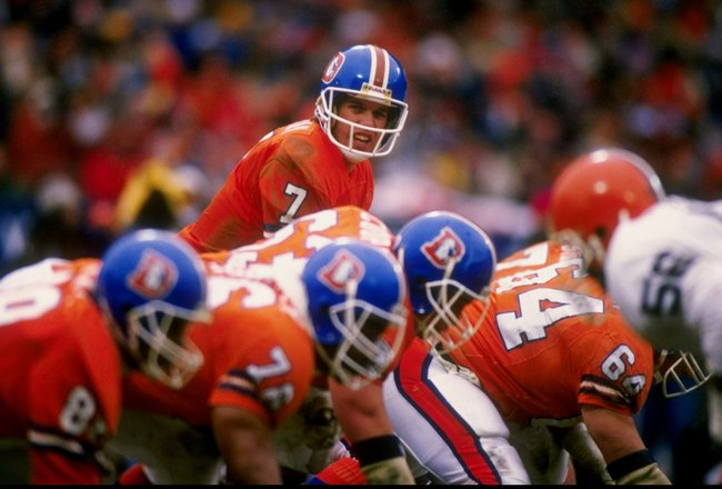 11 Jan 1987:  Quarterback John Elway of the Denver Broncos calls the cadence during the AFC Championship Game against the Cleveland Browns at Cleveland Stadium in Cleveland, Ohio.  The Broncos won the game 23-20. Mandatory Credit: Bob Martin  /Allsport