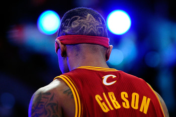 LOS ANGELES, CA - FEBRUARY 19:  A view of the back of the head of Daniel Gibson #1 of the Cleveland Cavaliers as he competes in the Foot Locker Three-Point Contest apart of NBA All-Star Saturday Night at Staples Center on February 19, 2011 in Los Angeles,