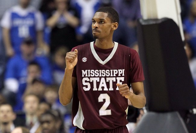 NASHVILLE, TN - MARCH 14:  Ravern Johnson #2 of the Mississippi State Bulldogs reacts against the Kentucky Wildcats during the final of the SEC Men's Basketball Tournament at the Bridgestone Arena on March 14, 2010 in Nashville, Tennessee. Kentucky won 75