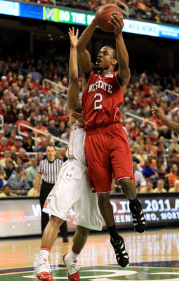 GREENSBORO, NC - MARCH 10:  Lorenzo Brown #2 of the North Carolina State Wolfpack shoots against the Maryland Terrapins during the second half of the game in the first round of the 2011 ACC men's basketball tournament at the Greensboro Coliseum on March 1