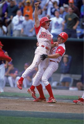 14 Jun 2000:  Steven Feehan #34 of the Louisiana Lafayette Ragin Cajuns celebrates with his teammates during the College World Series against the Clemson Tigers at the Resenblatt Stadium in Omaha, Nebraska. The Raggin Cajuns defeated the Tigers 6-3. Manda