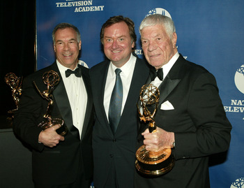 NEW YORK - APRIL 19:  (L-R) NFL filmmaker Steve Sabol, 'Meet The Press' host Tim Russert and NFL filmmaker Ed Sabol attend the 25th Annual Sports Emmy Awards April 19, 2004 in New York City.  (Photo by Peter Kramer/Getty Images)