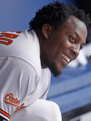 TORONTO, CANADA - JUNE 16:  Vladimir Guerrero #27 of the Baltimore Orioles celebrates his 2500th hit during MLB action against the Toronto Blue Jays at The Rogers Centre June 16, 2011 in Toronto, Ontario, Canada. (Photo by Abelimages/Getty Images)