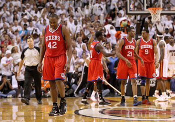 MIAMI, FL - APRIL 27:  Elton Brand #42 of the Philadelphia 76ers walks off the floor after fouling out during game five of the Eastern Conference Quarterfinals in the 2011 NBA Playoffs against the Miami Heat at American Airlines Arena on April 27, 2011 in