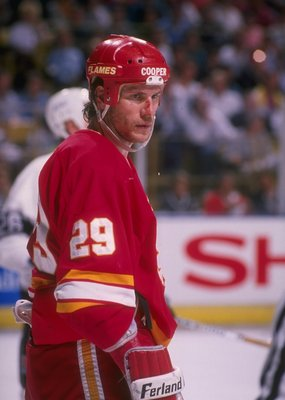 1989-1990:  Center Joel Otto of the Calgary Flames looks on during a playoff game against the Los Angeles Kings at the Olympic Saddledome in Calgary, Alberta. Mandatory Credit: Mike Powell  /Allsport