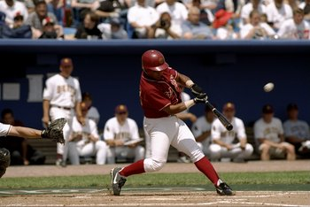 6 Jun 1998:  Wes Rachels #24 of the USC Trojans swings during the College World Series game against  the  Arizona State Sun Devils at Rosenblatt Stadium in Omaha, Nebraska. USC defeated ASU 21-14Mandatory Credit: Vincent Laforet  /Allsport