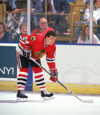 INGLEWOOD, CA - 1989:  Defense Doug Wilson #24 of the Chicago Blackhawks warms up prior to a game against the Los Angeles Kings at the Great Western Forum during the 1989-90 season in Inglewood, California.  (Photo by Mike Powell/Getty Images)