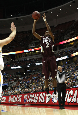 ANAHEIM, CA - DECEMBER 12:  Ravern Johnson #2 of the Mississippi State Bulldogs shoots a jump shot against the UCLA Bruins in the John Wooden Classic on December 12, 2009 at the Honda Center in Anaheim, California. Mississippi State won 72-54.  (Photo by