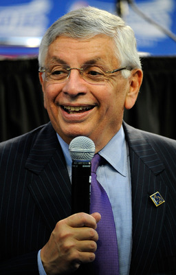 ORLANDO, FL - APRIL 28:  Commissioner David Stern speaks to the media prior to Game Five of the Eastern Conference Quarterfinals between the Philadelphia 76ers and the Orlando Magic during the 2009 NBA Playoffs at Amway Arena on April 28, 2009 in Orlando,