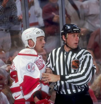 29 May 1998:  Joey Kocur #26 of the Detroit Red Wings looks on during a Western Conference Playoff game against the Dallas Stars at Joe Louis Arena in Detroit, Michigan. The Red Wings defeated the Stars 5-2. Mandatory Credit: Elsa Hasch  /Allsport
