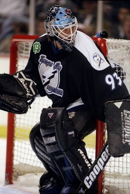 5 Nov 1997:  Goaltender Daren Puppa of the Tampa Bay Lightning in action against the Anaheim Mighty Ducks during a game at Arrowhead Pond in Anaheim, California.  The Ducks defeated the Lightning 5-2. Mandatory Credit: Elsa Hasch  /Allsport