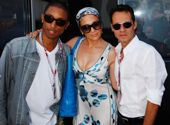 MONTE CARLO, MONACO - MAY 16:  (L-R) Pharrell Williams, Jennifer Lopez and her husband Marc Anthony are seen in the paddock during the Monaco Formula One Grand Prix at the Monte Carlo Circuit on May 16, 2010 in Monte Carlo, Monaco.  (Photo by Mark Thompso
