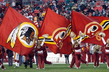 LANDOVER, MD - DECEMBER 21:  A general view of the Washington Redskins cheer squad as the fly flags during the game of the Philadelphia Eagles on December 21, 2008 at FedEx Field in Landover, Maryland.  (Photo by Kevin C. Cox/Getty Images)