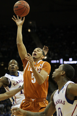 KANSAS CITY, MO - MARCH 12:  Cory Joseph #5 of the Texas Longhorns goes up for a shot against the Kansas Jayhawks in the first half of the 2011 Phillips 66 Big 12 Men's Basketball Tournament championship game at Sprint Center on March 12, 2011 in Kansas C