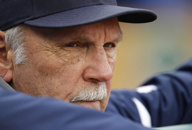 DETROIT - APRIL 28: Detroit Tigers manager Jim Leyland watches the action during the game against the Seattle Mariners at Comerica Park on April 28, 2011 in Detroit, Michigan. The Mariners defeated the Tigers 7-2. (Photo by Leon Halip/Getty Images)