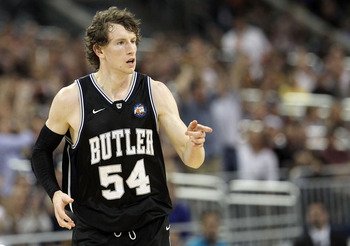HOUSTON, TX - APRIL 04:  Matt Howard #54 of the Butler Bulldogs reacts after a play against the Connecticut Huskies during the National Championship Game of the 2011 NCAA Division I Men's Basketball Tournament at Reliant Stadium on April 4, 2011 in Housto
