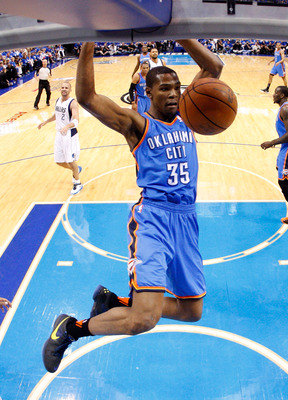DALLAS, TX - MAY 25:  Kevin Durant #35 of the Oklahoma City Thunder dunks the ball in the first half while taking on the Dallas Mavericks in Game Five of the Western Conference Finals during the 2011 NBA Playoffs at American Airlines Center on May 25, 201