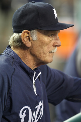 DETROIT, MI - JUNE 15:  Manager Jim Leyland #10 of the Detroit Tigers watches the game action from the dugout during a MLB game against the Cleveland Indians at Comerica Park on June 15, 2011 in Detroit, Michigan. Cleveland won 6-4  (Photo by Dave Reginek