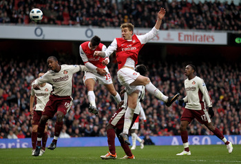 LONDON, ENGLAND - MARCH 05:  Nicklas Bendtner of Arsenal  heads the ball during the Barclays Premier League match between Arsenal and Sunderland at Emirates Stadium on March 5, 2011 in London, England.  (Photo by Paul Gilham/Getty Images)