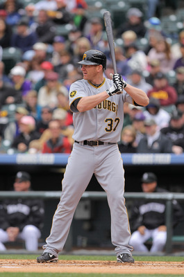 DENVER, CO - MAY 01:  First baseman Lyle Overbay #37 of the Pittsburgh Pirates takes an at bat against the Colorado Rockies at Coors Field on May 1, 2011 in Denver, Colorado. The Pirates defeated the Rockies 8-4.  (Photo by Doug Pensinger/Getty Images)