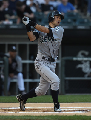 CHICAGO, IL - JUNE 06:  Ichiro Suzuki #51 of the Seattle Mariners hits the ball against the Chicago White Sox at U.S. Cellular Field on June 6, 2011 in Chicago, Illinois. The White Sox defeated the Mariners 3-1.  (Photo by Jonathan Daniel/Getty Images)