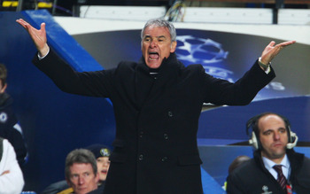 LONDON - FEBRUARY 25:  Juventus Coach Claudio Ranieri shouts instructions during the UEFA Champions League, Round of Last 16, First Leg match between Chelsea and Juventus at Stamford Bridge on February 25, 2009 in London, England.  (Photo by Phil Cole/Get