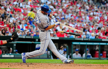 ST. LOUIS, MO - JUNE 18: Jeff Francoeur #21 of the Kansas City Royals breaks hit bat as he connects with a pitch against the St. Louis Cardinals at Busch Stadium on June 18, 2011 in St. Louis, Missouri.  (Photo by Jeff Curry/Getty Images)