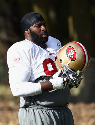 HERTFORD, ENGLAND - OCTOBER 27:  Franklin Aubrayo of San Francisco 49ers looks on during a training session at The Grove Hotel on October 27, 2010 in Hertford, England. The San Francisco 49ers will meet the Denver Broncos in the NFL International Series r