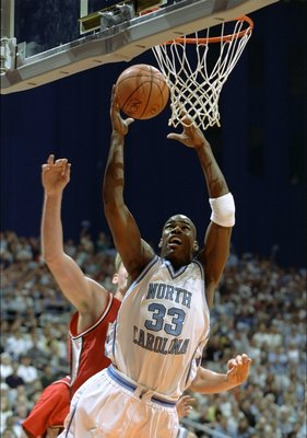 28 Mar 1998:  Forward Antawn Jamison of the North Carolina Tar Heels  in action during a playoff game against the Utah Utes at the Alamodome in San Antonio, Texas.  Utah won the game, 65-59. Mandatory Credit: Todd Warshaw  /Allsport