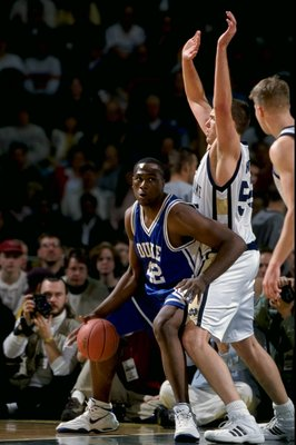 25 Nov 1998: Elton Brand #42 of the Duke Blue Devils in action during the Carrs Great Alaska Shootout Game against the Notre Dame Fighting Irish at the Sullivan Arena in Anchorage, Alaska. Duke defeated Notre Dame 111-82. Mandatory Credit: Todd Warshaw  /
