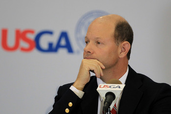 BETHESDA, MD - JUNE 15:  Mike Davis, Executive Director of the USGA, speaks to the media during a press conference during a practice round prior to the start of the 111th U.S. Open at Congressional Country Club on June 15, 2011 in Bethesda, Maryland.  (Ph