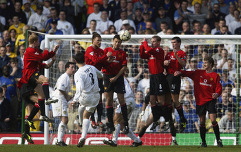 30 Mar 2002:  Ian Harte of Leeds United goes close to scoring from a free-kick during the FA Barclaycard Premiership match between Leeds United and Manchester United played at Elland Road, in Leeds, England. Manchester United won the match 4-3. DIGITAL IM