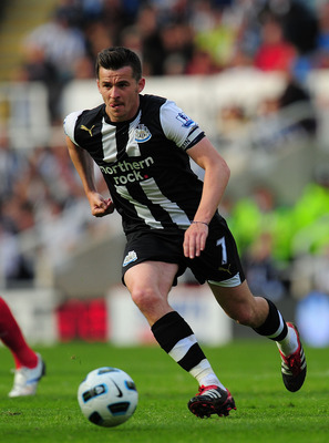 NEWCASTLE UPON TYNE, ENGLAND - MAY 22:  Newcastle player Joey Barton in action during the Barclays Premier League game between Newcastle United and West Bromwich Albion at St James' Park on May 22, 2011 in Newcastle upon Tyne, England.  (Photo by Stu Fors
