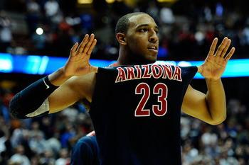 ANAHEIM, CA - MARCH 24:  Derrick Williams #23 of the Arizona Wildcats reacts after defeating the Duke Blue Devils during the west regional semifinal of the 2011 NCAA men's basketball tournament at the Honda Center on March 24, 2011 in Anaheim, California.