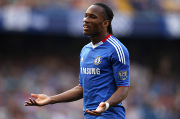 LONDON, ENGLAND - APRIL 30:  Didier Drogba of Chelsea gestures during the Barclays Premier League match between Chelsea and Tottenham Hotspur at Stamford Bridge on April 30, 2011 in London, England.  (Photo by Scott Heavey/Getty Images)