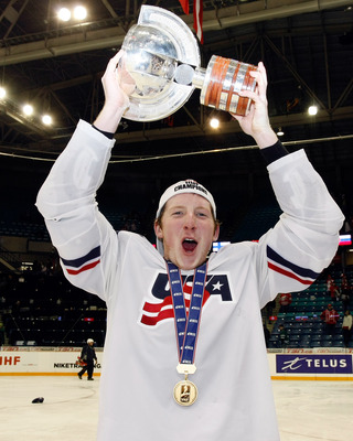 SASKATOON, SK - JANUARY 5:  Danny Kristo #8 of Team USA holds up the IIHF Cup after defeating Team Canada 6-5 in overtime at the 2010 IIHF World Junior Championship Tournament Gold Medal game on January 5, 2010 at the Credit Union Centre in Saskatoon, Sas