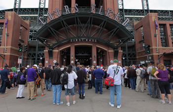DENVER, CO - APRIL 17:  Fans line up at the gate prior to the game as the Colorado Rockies host the Chicago Cubs at Coors Field on April 17, 2011 in Denver, Colorado.  (Photo by Doug Pensinger/Getty Images)