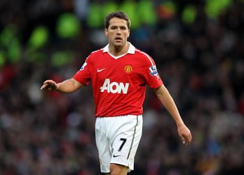 MANCHESTER, ENGLAND - JANUARY 09:  Michael Owen of Manchester United looks on during the FA Cup sponsored by E.ON 3rd round match between Manchester United and Liverpool at Old Trafford on January 9, 2011 in Manchester, England. (Photo by Alex Livesey/Get