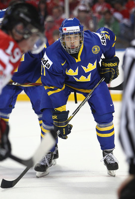 BUFFALO, NY - DECEMBER 31: Forward Rickard Rakell #27 of Sweden during the 2011 IIHF World U20 Championship game between Canada and Sweden on December 31, 2010 at HSBC Arena in Buffalo, New York. (Photo by Tom Szczerbowski/Getty Images)