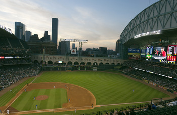 HOUSTON - APRIL 12:  A general view of Minute Maid Park from the first base side on April 12, 2011 in Houston, Texas.  (Photo by Bob Levey/Getty Images)