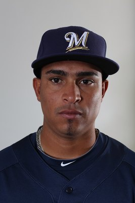 MARYVALE, AZ - MARCH 01:  Amaury Rivas #58 poses for a portrait during the Milwaukee Brewers Photo Day at the Maryvale  Baseball Park on March 1, 2010 in Maryvale, Arizona.  (Photo by Jonathan Ferrey/Getty Images)